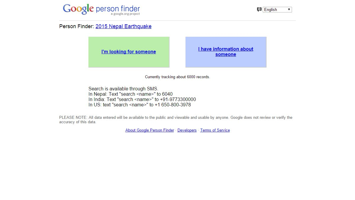Google Person Finder - Nepal Earthquake 2015