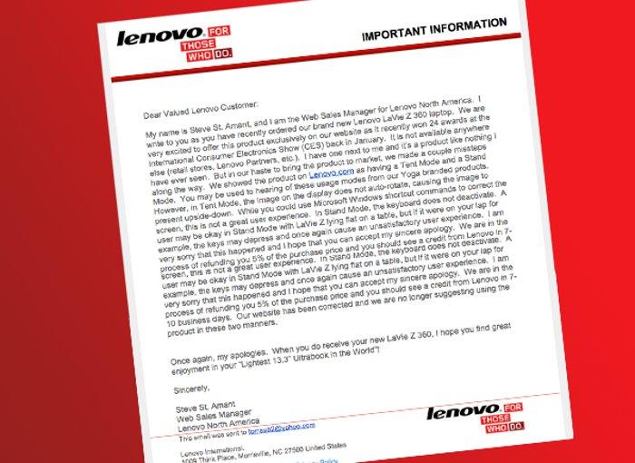 Letter From Lenovo Admitting Flaws In LaVie Z 360