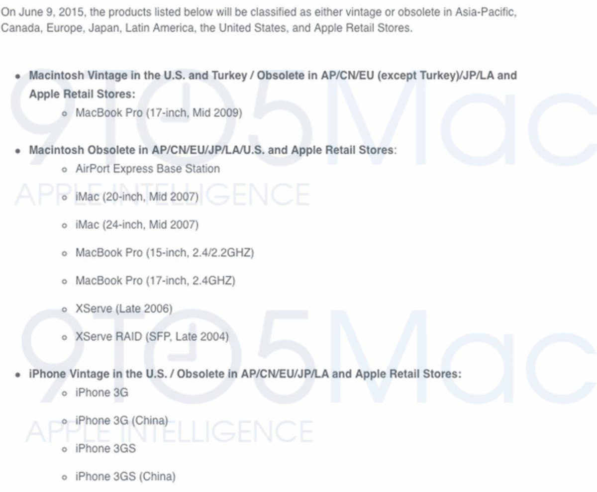 List Of Apple Devices That Are About To Become Obsolete On 9th June 2015