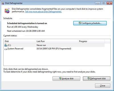 Windows 7 - Disk Defragmenter