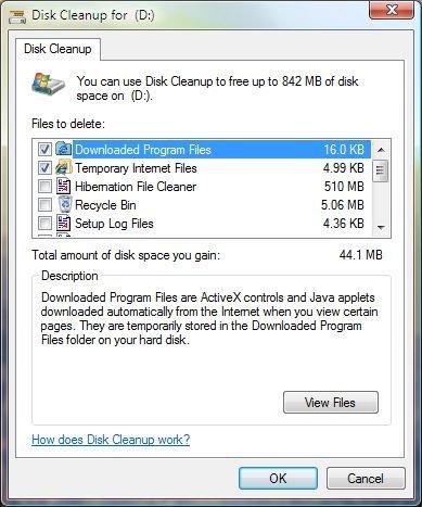 Windows Vista - Disk Cleanup