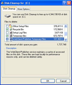 Windows XP - Disk Cleanup
