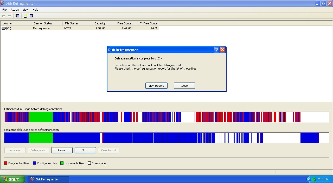 Windows XP - Disk Defragmenter