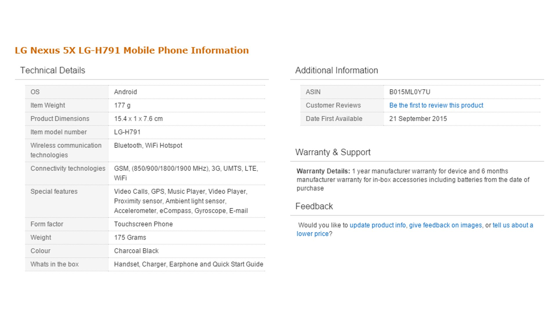 Google Nexus 5X - Specs Listed In Amazon India