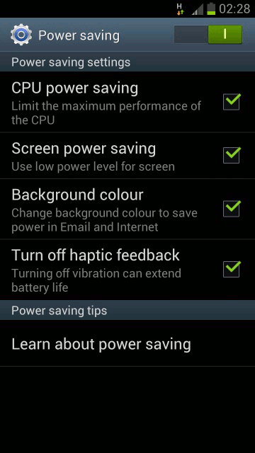 Power saving mode Samsung Galaxy 3