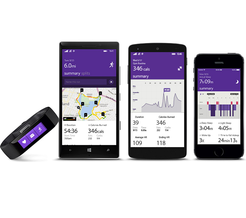 Microsoft Band and Microsoft Health App for Android, iOS, Windows Phone