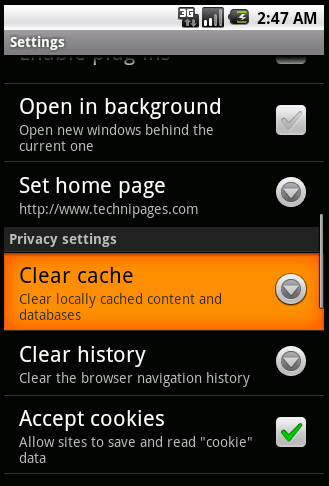 Clear Browser Cache On Android