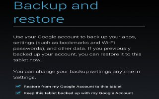 How To Change Backup And Reset Options On Nexus 7