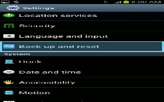 How To Customize Back Up And Reset On Samsung Galaxy S3
