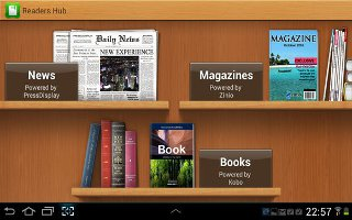 Samsung Readers Hub is a one stop shop for books, magazines and newspapers from around the world on your Samsung Galaxy Tab 2.