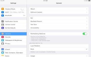 How To Use Settings  And Adjustments - iPad Mini 2