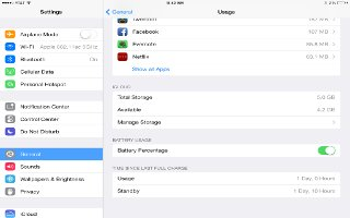 How To View Battery Usage - ipad Air