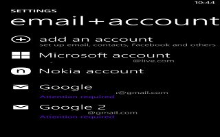 How To Set Accounts - Nokia Lumia 1020