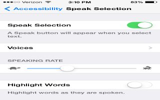 How To Customize Speak Selection - iPhone 5C