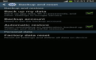 How To Backup And Reset Settings - Samsung Galaxy S4 Active