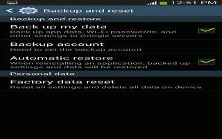 How To Backup And Reset - Samsung Galaxy Mega