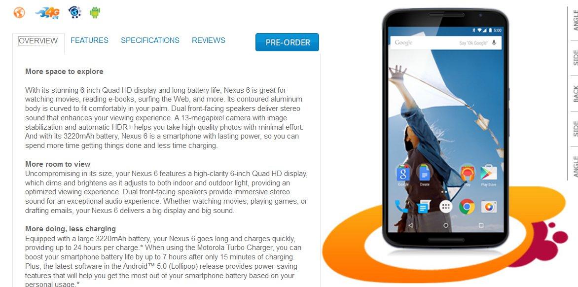 AT&T Nexus 6 Pre-Orders Now Open