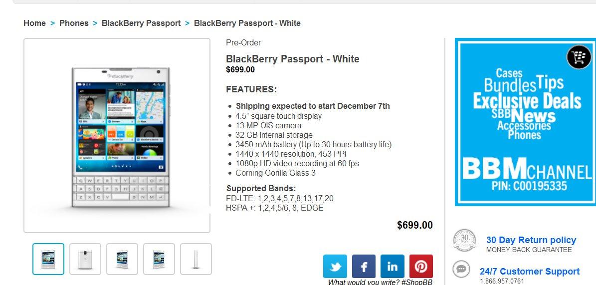 White BlackBerry Passport Up For Pre-Order