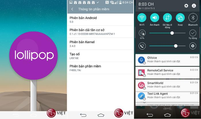 Android 5.0 Lollipop Leak Appears On LG G3 F400S And D855
