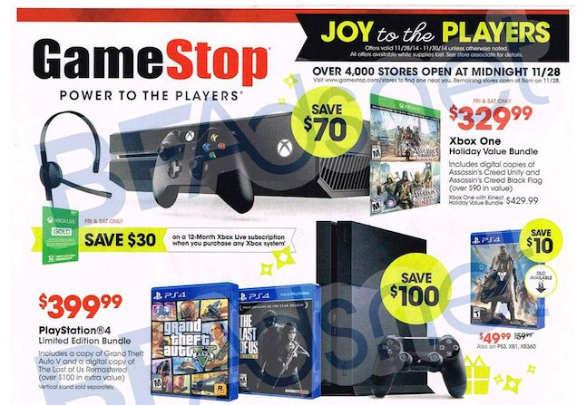 GameStop Black Friday Ad Leaks Xbox One And PS4 Bundle Deals