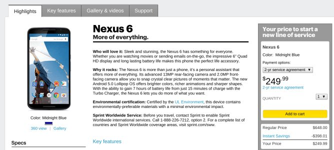 Sprint Drops Nexus 6 Pricing, Refunds Those Who Paid More