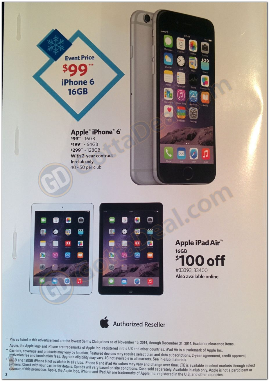 Sam's Club Selling iPhone 6 From $99 On Nov 15