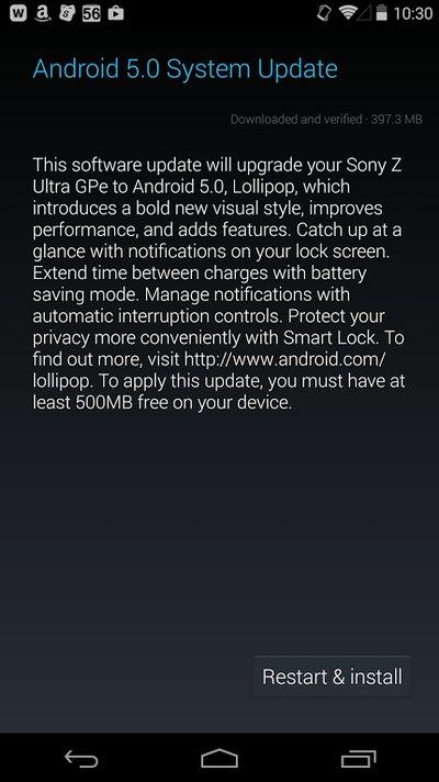 Sony Z Ultra Gpe Getting Android 5.0 Lollipop Update