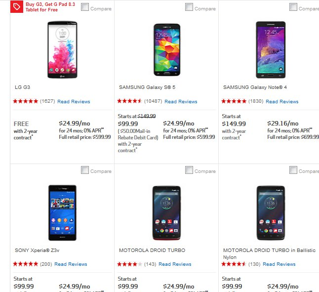Verizon Announces 50% Off On Galaxy Note 4, Xperia Z3v, Driod Turbo And More