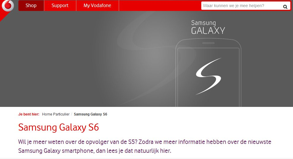 Placeholder On Vodafone Site Confirms Galaxy S6 Edge