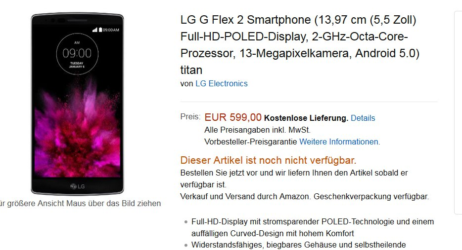 LG G Flex 2 Pre-Orders At Amazon, Priced EUR 599