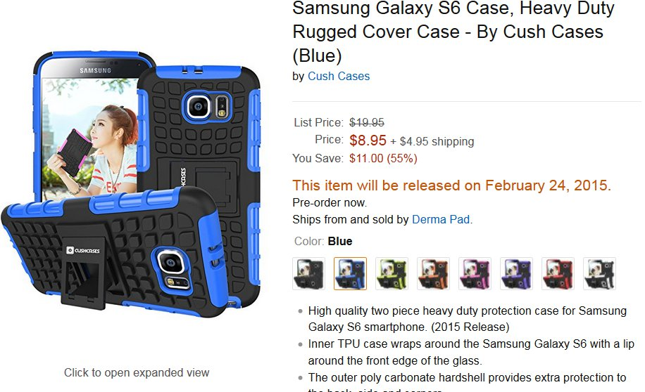 Galaxy S6 Case Shows Flash And HR Sensor Moved