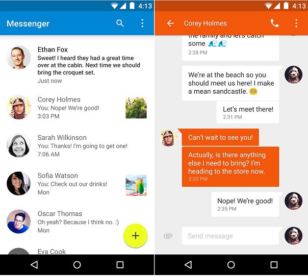 How To Send SMS Using Messenger App - Android Lollipop