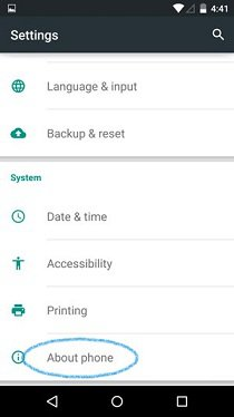 How To Use About Phone - Android Lollipop