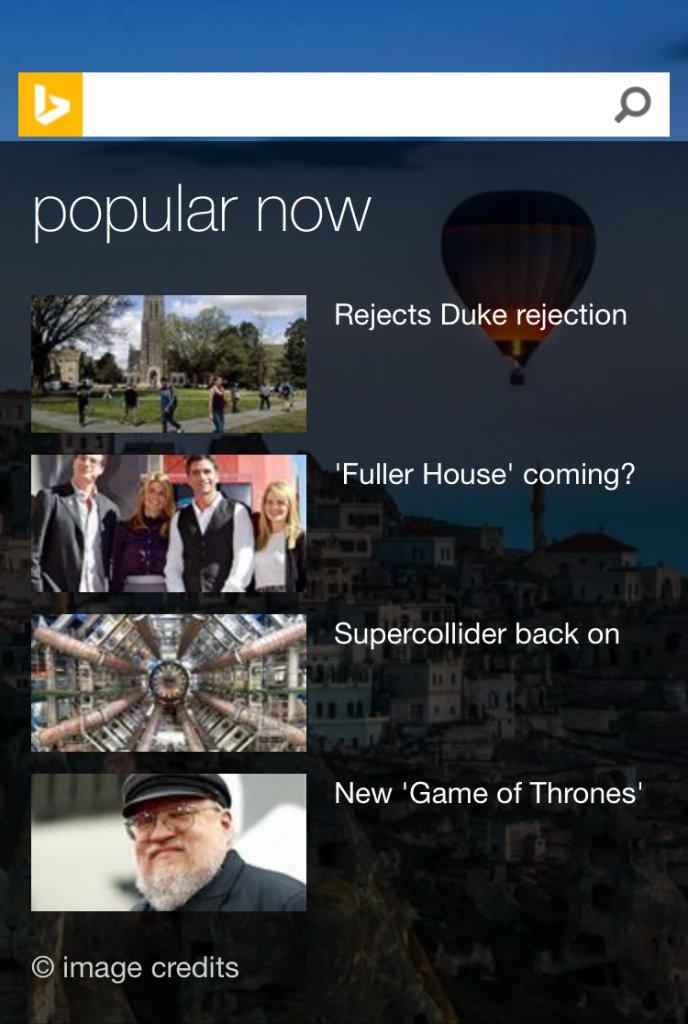 Bing Mobile Homepage - Popular Now Card