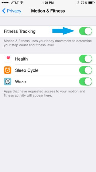 iPhone - Motion & Fitness Settings - Fitness Tracking Option Enabled