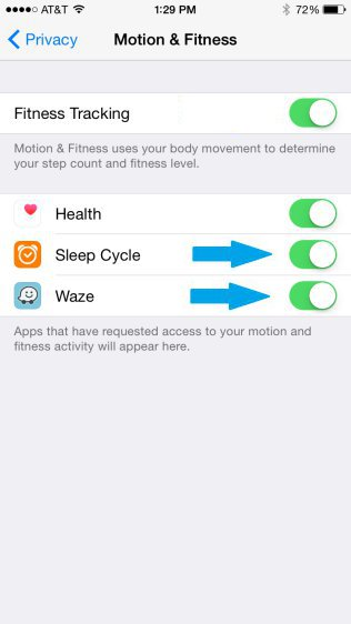 iPhone - Motion & Fitness Settings - List Of App Having Access Enabled
