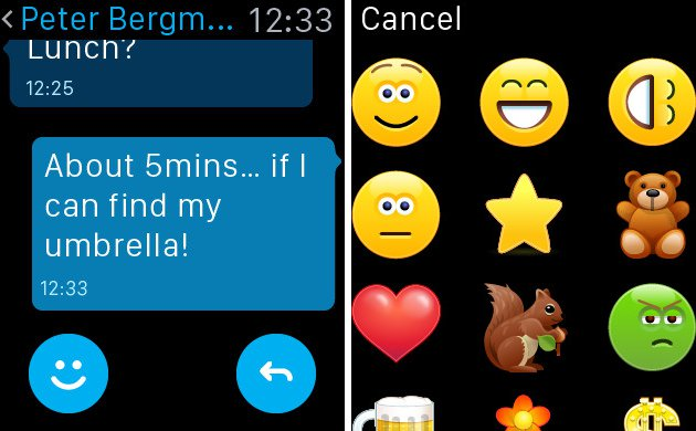Skype For Apple Watch - Emoticons
