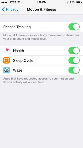 iPhone - Motion & Fitness Settings