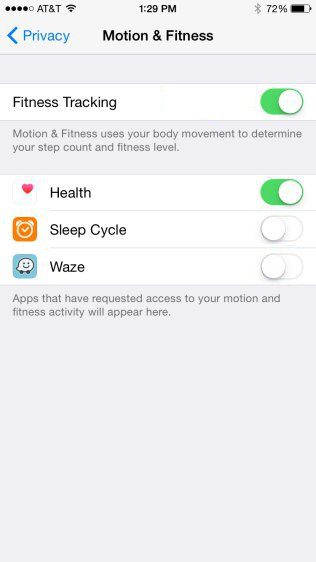 iPhone - Motion & Fitness Settings - List Of App Having Access Disabled
