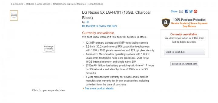 Google Nexus 5X - Listed In Amazon India