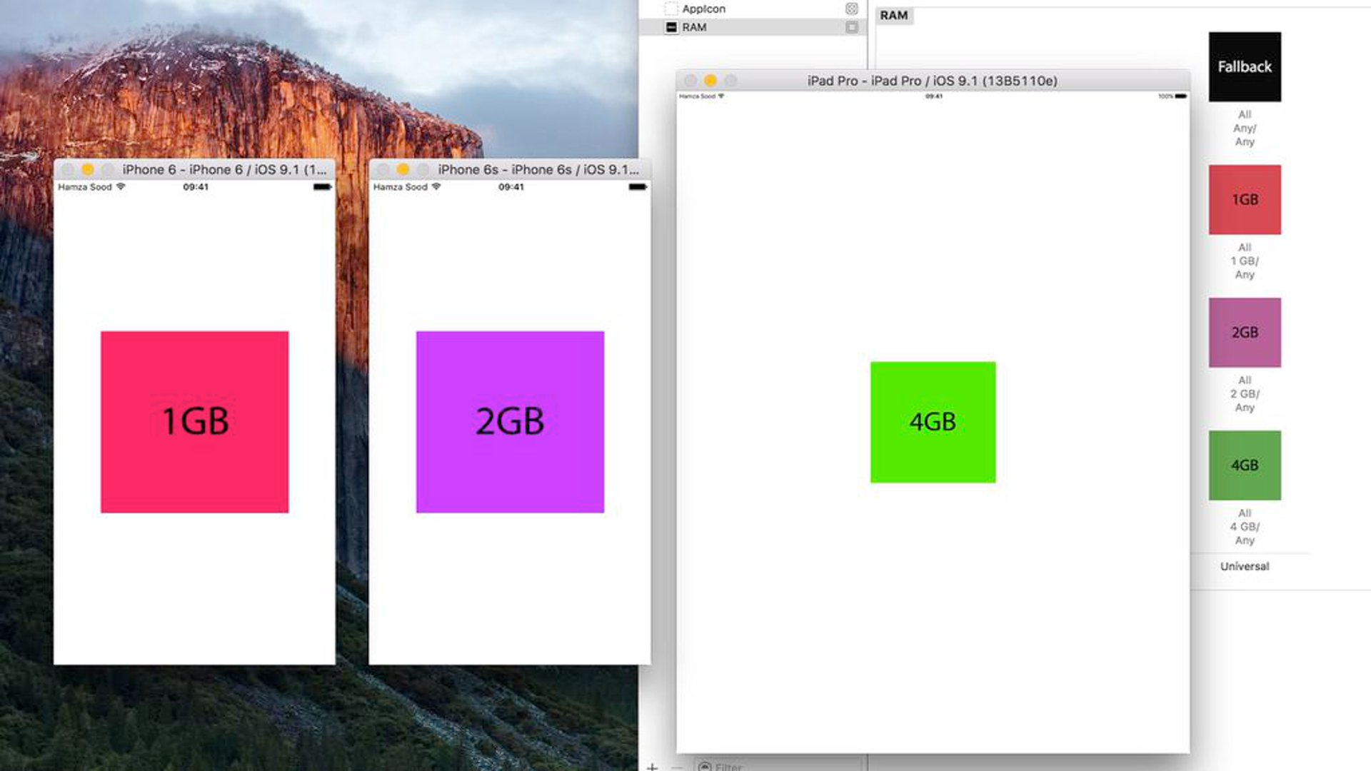 Xcode iOS Simulator - iPhone 6S, iPhone 6S Plus And iPad Pro RAM