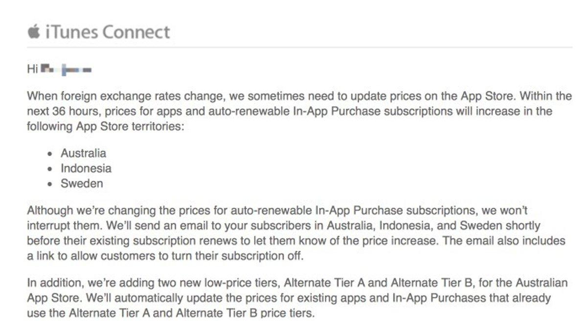 Apple App Store - Price Change