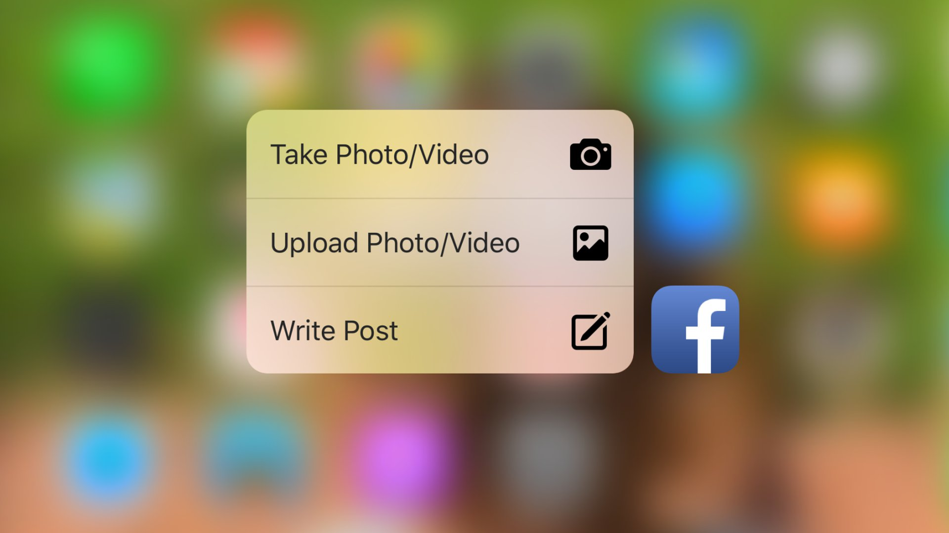 Facebook - 3D Touch - Quick Action Menu