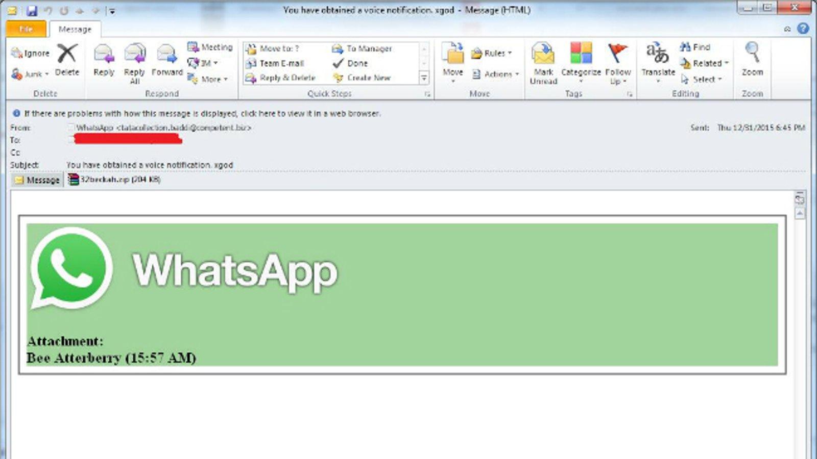 WhatsApp Phishing Email Template