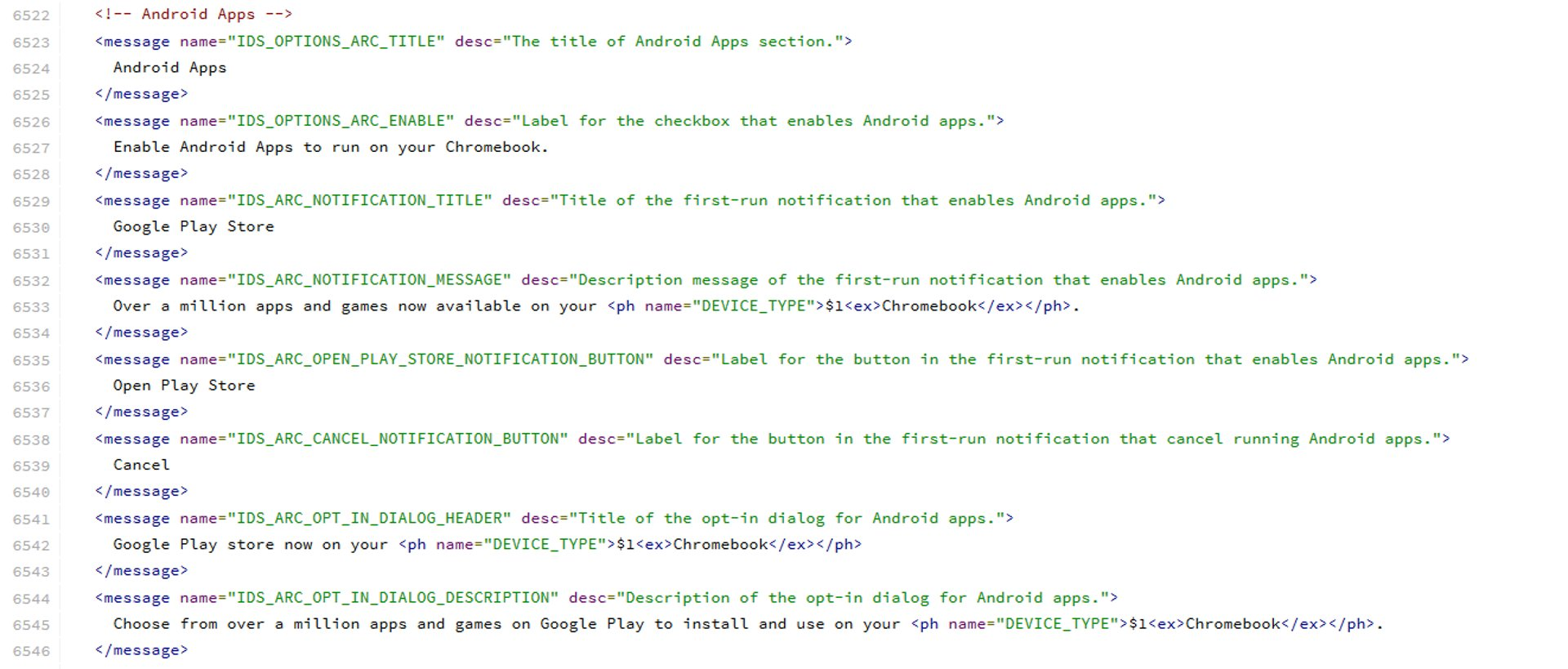 Chrome Os - ARC Messages