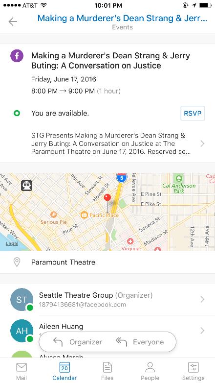 Outlook Calendar App - Facebook