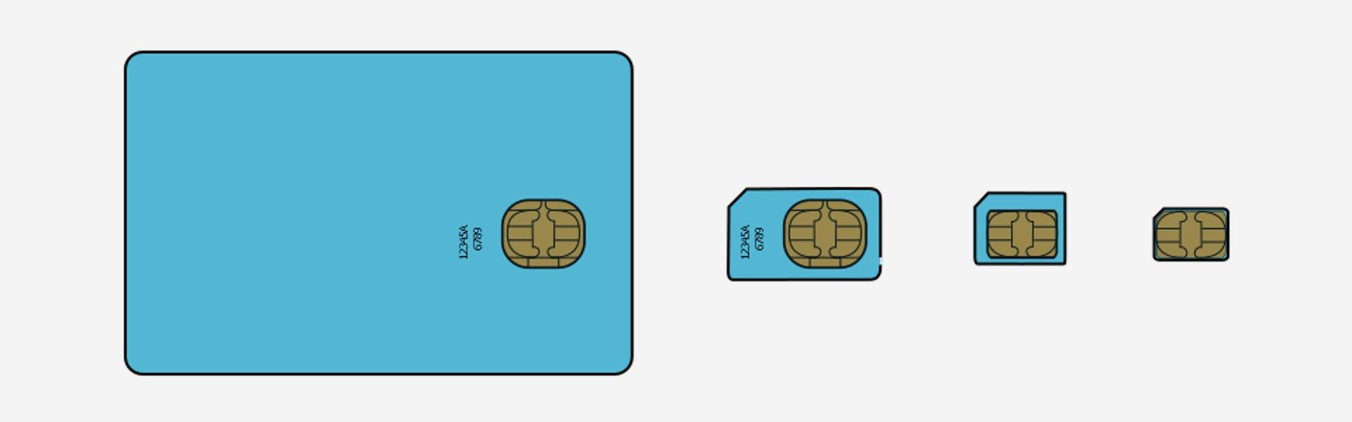 (From Left To Right) Full-size SIM, Mini SIM, Micro SIM, Nano SIM