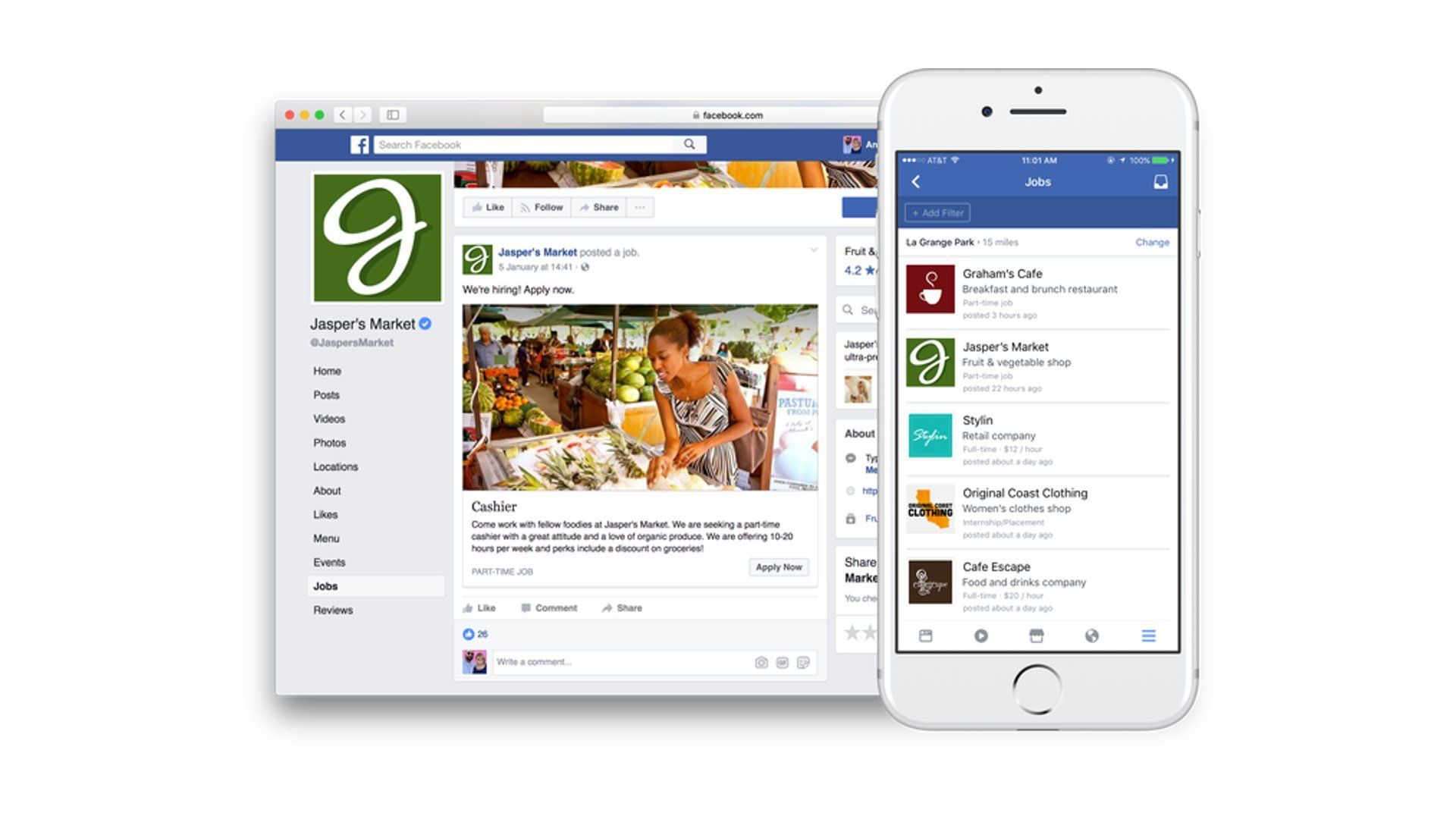Facebook Jobs - Desktop & Mobile Experience