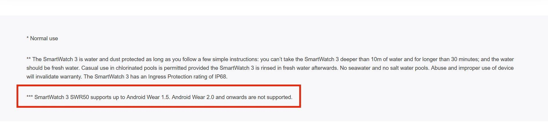 Sony Smartwatch 3 - Product Page Notes On Android Wear Support