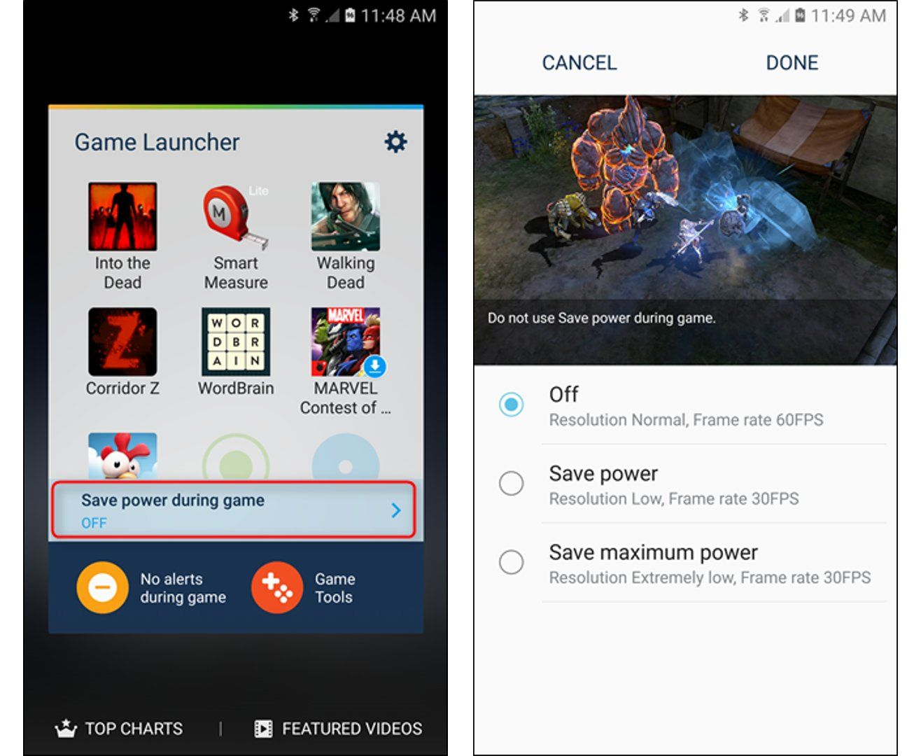Samsung Game Launcher - Power Saving Mode
